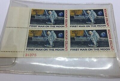 1969 Apollo 11 First Man on The Moon United States Postage Stamps Block of 4
