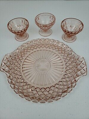"VTG PINK DEPRESSION GLASS Diamond Cut 12"" Serving Platter & 3 Footed Fruit Bowls"