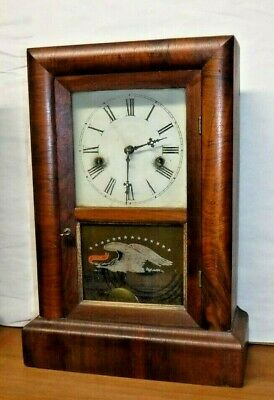 Ansonia Connecticut Antique Cottage Shelf / Mantel Clock Working Complete W/ Key