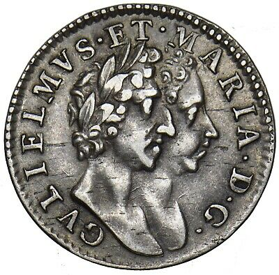 1689 MAUNDY FOURPENCE 4d - WILLIAM & MARY BRITISH SILVER COIN - V NICE