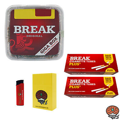 1x Break Volumentabak Giga Box 300g + 200 Break Plus Hülsen + Zubehör