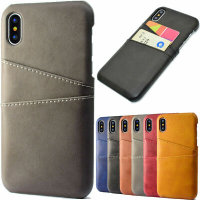Luxury PU Leather Skin With Card Holder Back Cover For iPhone X XS 8 7 6s 6 Case