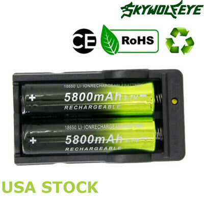 2pcs 18650 3.7V 5800mAh Rechargeable Li-ion Battery+1pcs Smart Charger for light