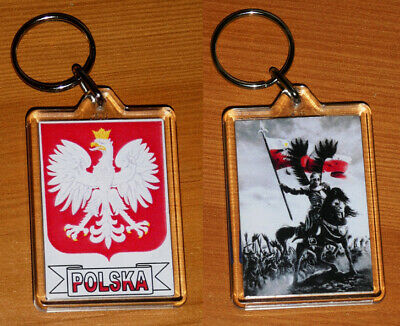 Polska Poland Coat Of Arms And Flag Large Double Sided Key Ring Chain