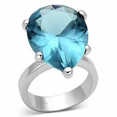 864 Simulated Blue Zircon 925 Sterling Silver  Ring Pear Cut Solitaire Womens