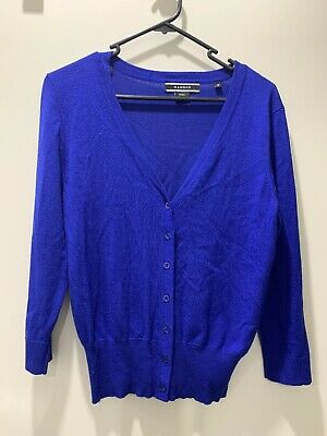 Basque Petite long sleeved bright blue coloured cardigan size 12 - Pre-Owned