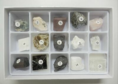 15 Mineral Collection Set A in Paper Box MSS15A Education Natural Stone Specimen