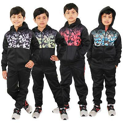 Kids Boys Girls Tracksuit Camouflage Panelled Hooded Top & Bottom Jogging Suits