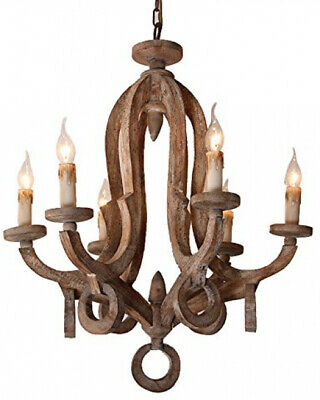 Rustic Cottage Chic Sculpted Wooden 6-Light Chandelier Ceiling Light Fixture