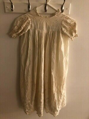 Antique Victorian Summer Baby Cotton Lace Christening Gown Dress