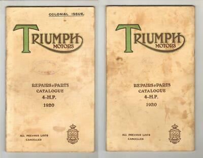 TRIUMPH MOTORS - REPAIRS AND PARTS CATALOGUE 4-HP 1920 Colonial Issue