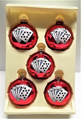 """Set of 5 Glass Poker Christmas Ornaments Red Ball 2.5"""" Holiday Playing Cards"""