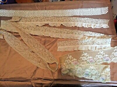 Lot of Vintage Lace 4 Pieces Trim & Remnants