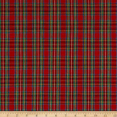 Shiny Vinyl Coated Green Blue Gold Burgundy Plaid Fabric  1 Yard  R202
