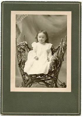 Antique Photo - Cute Little Girl - Wicker Chair Sitting