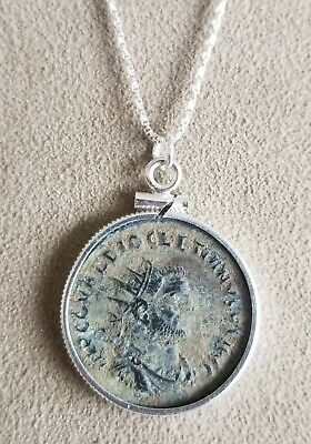 Authentic Ancient Roman Empire Coin Emperor Diocletian 925 Solid Silver Necklace