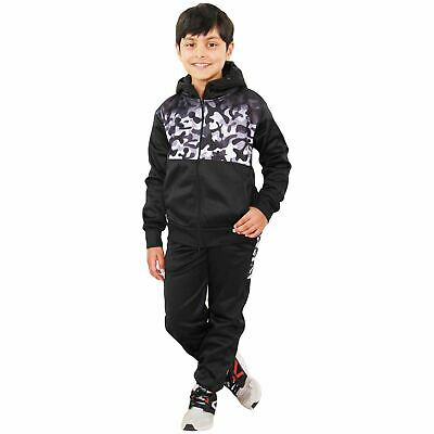Kids Boys Girls Tracksuit Grey Camouflage Panelled Hooded Top & Bottom Jog Suits