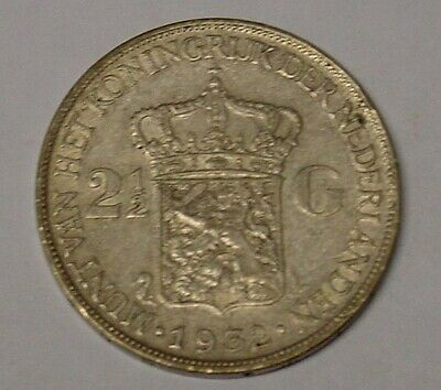 1932 Netherlands silver 2.5 Guilders, Near Very Fine.