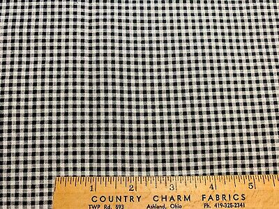 Vintage Cotton Fabric 40s CUTE  Black & White Printed Gingham Squares 35w 1yd
