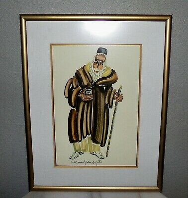 Pola Weizman Original 20th Century Gouache Painting. Signed, Matted & Framed.