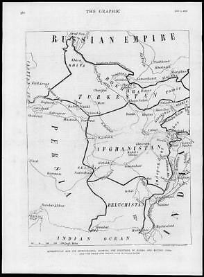 1878 - Antique Print AFGHANISTAN Map Frontiers Russia British India    (151)
