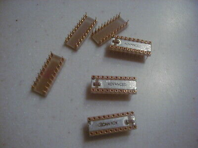 "20 Pin Machined Pin DIP IC Sockets (.3 in. wide) 6 pcs, ""ADVANCED"" Excellent NOS"