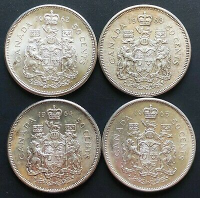 Lot of 4x Canada Silver 50 Cent Half Dollars - Dates: 1962, 1963, 1964, 1965