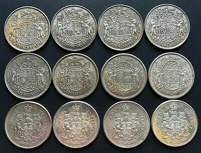 Lot of 12x Canada Silver 50 Cent Half Dollars - Dates: 1949 to 1963