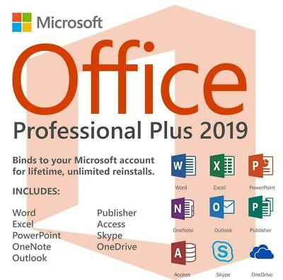 Microsoft Office 2019 PROFESSIONAL PLUS MS Office Pro for windows Key For 1PC