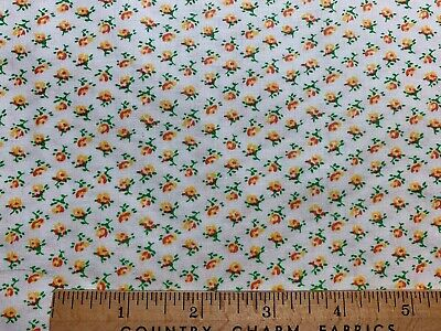 Vintage Cotton Fabric 30s40s TINY Orange Red Yellow Roses Floral 35w 1yd