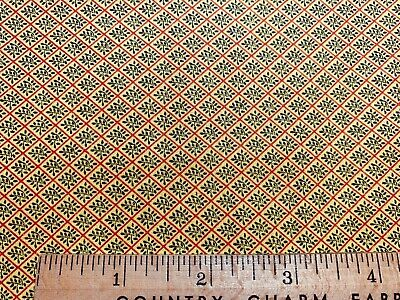 Vintage Cotton Fabric 30s40s TINY Black Leaves on Yellow 35w 1yd