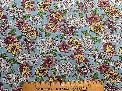 Vintage Cotton Fabric 30s40s PRETTY Pink Yellow & Blue Daisies Floral 35w 1yd