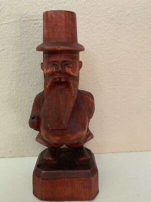 Vintage Chinese Old Wood Hand Carved STATUE Rare HTF ANTIQUE S3