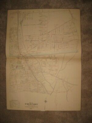 Huge Gorgeous Antique 1902 Freeport Long Island New York Handcolored Map Superb