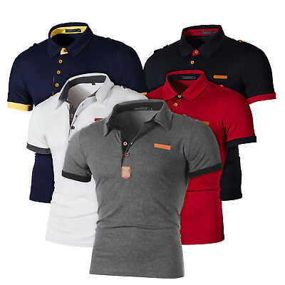 Mens Stand Collar Polo Neck T Shirt Short Sleeve Tops Casual Sports Slim Fit Tee