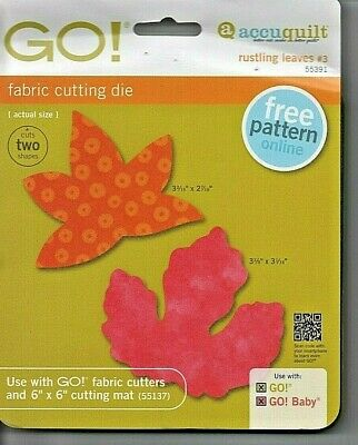 """Accuquilt Fabric Cutting Die #55391 Fall """"Rustling Leaves"""" 2 Shapes New Unused"""