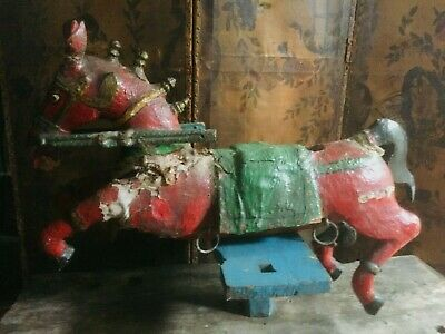 Antique Oak Carved  Indian Ratassami Temple Horse 37 By 49 Ins For Restoration