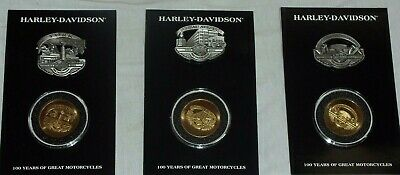 "Harley Davidson 100th Anniversary Pin and Coin Sets  ""York"" ""Juneau"" & ""Willie"""