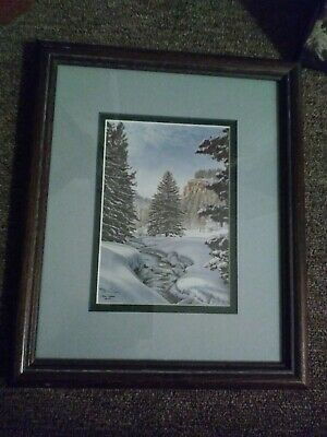 """Jon Crane 1997 """"Winter River"""" Matted, Framed and Signed. It is 12""""X10"""""""