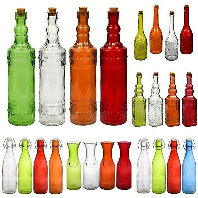 Glass Bottles Colorful Vintage with Cork Tops Variety and Set of 4