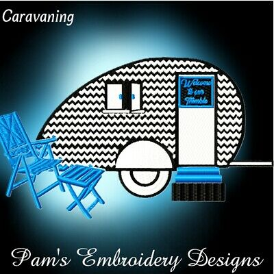 CARAVANNING  10 MACHINE EMBROIDERY DESIGNS CD or USB