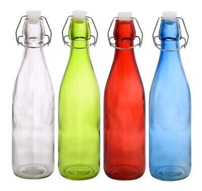 Glass Bottles Colorful with Flip-Top Metal Clasps    (Variety)