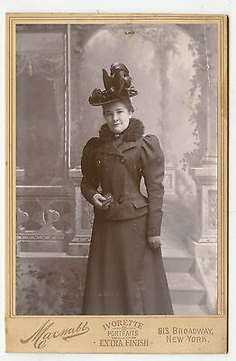 Cabinet Photo - New York Lady Standing - Holding Book - Large Hat