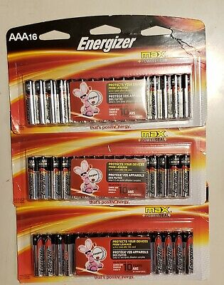 Energizer AAA 16 Max+Powerseal Batteries 3 Packs Totaling 48