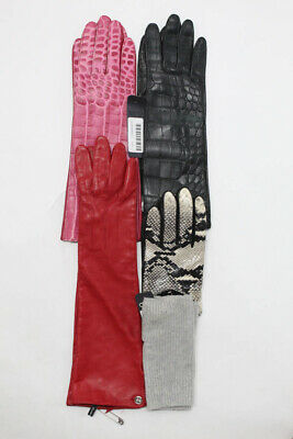 878e12352 Club Monaco Womens Leather Cashmere Gloves Red Pink Black Gray Size M Lot 5