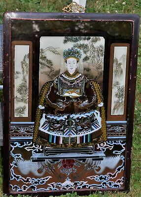 Vintage Chinese Reverse Painting on Glass Dignified Emperor Mandarin Wood Frame