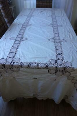 UNUSED Large Banquet Vintage Hand Crochet & Embroidery Tablecloth 285x165cm