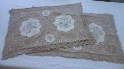 Pair of Vintage Embroidery & Crochet Ivory & Ecru Pillowcases Shams