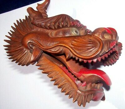 Antique Hand Carved Articulated Dragons Head  -  Asian Oriental Figure