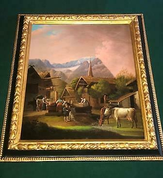 Original Early 19th Century Oil on Board Painting 1800 Alpine Scene Animals Town